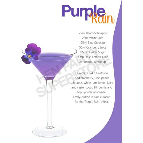 martini purple purple rain cocktail recipe hen party superstore