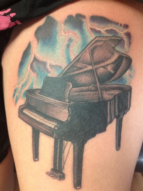piano tattoo grand piano on thigh tattooshunt