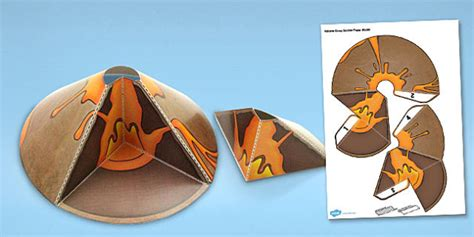 How To Make A Paper Volcano Model - volcano cross section paper model volcano paper model