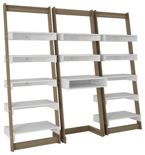 Accentuations 3 Piece Carpina Home Floating Ladder Shelf Ladder Desk With Shelves