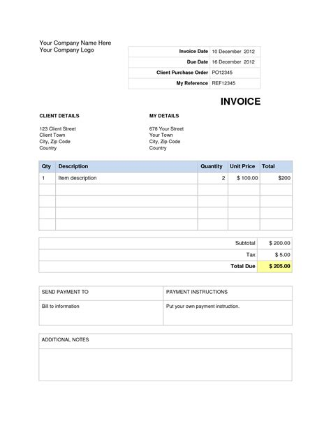 Invoice Template Word Doc Invoice Exle Invoice Template For Microsoft Word