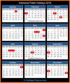 Calendar 2018 With Holidays Indonesia Indonesia Holidays 2016 Holidays Tracker