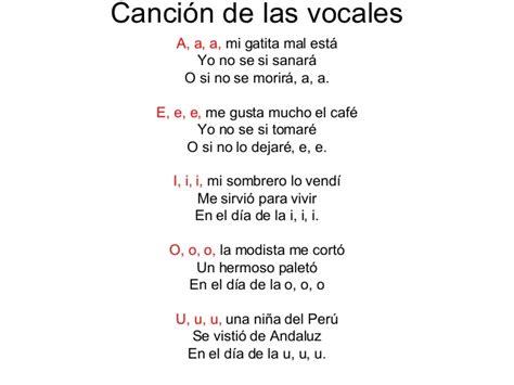 la cancion de los canci 243 n de las vocales