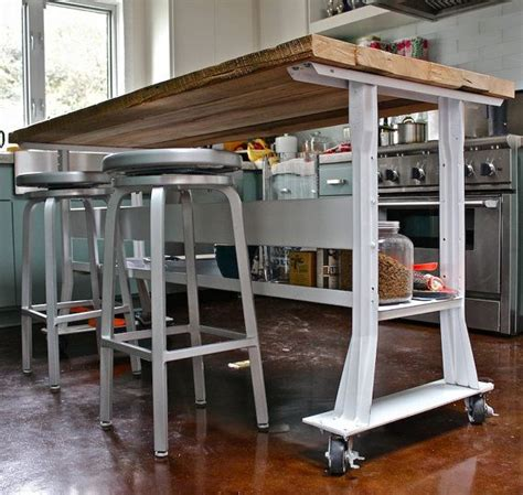 industrial kitchen islands industrial kitchen island wood top w steel base