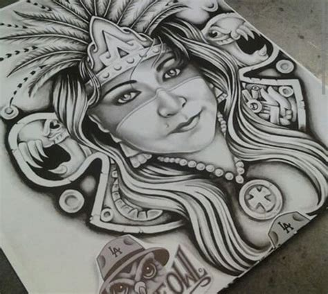 aztec princess tattoo designs aztec princess chicano pride aztec