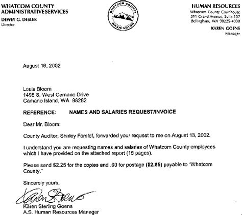 Response Letter Giving Information 2002 Whatcom County Employees List