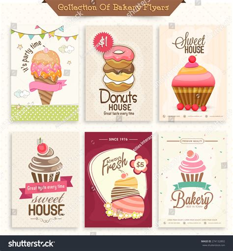 cupcake menu card template collection bakery flyers menu cards decorated stock vector