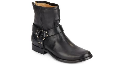 frye phillip harness leather ankle boots in black for