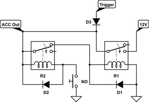 backfeed protection diode switches turn a load on with a pulse of power keep on until no button is pressed