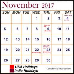 Calendar November 2017 With Holidays November 2017 Calendar With Holidays Templates Tools