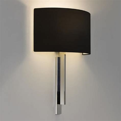 hotel style wall light in chrome with black shade