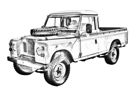land rover drawing 1971 land rover up truck drawing photograph by keith