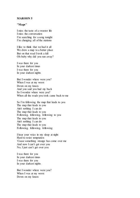 printable lyrics sugar maroon 5 maroon 5 maps lyric
