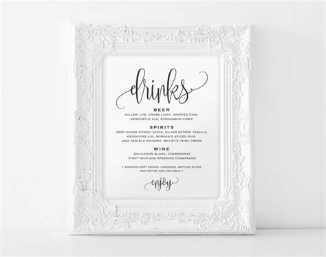 wedding drink menu template drinks sign bar sign bar menu sign drinks menu sign