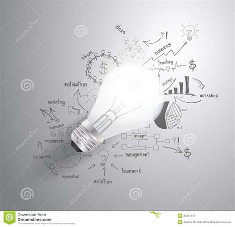 layout design strategy vector light bulb with drawing business success st stock