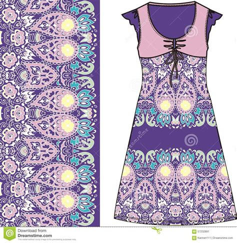 cotton dress design pattern sketch women s summer dress purple and pink colors fabric