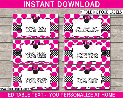 minnie mouse food labels place cards minnie