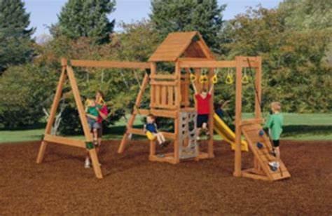 menards wooden swing sets chion bronze factory built playset outdoor play