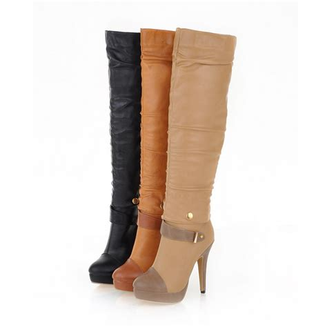 high heel knee high leather boots fashion the knee high boots boots high
