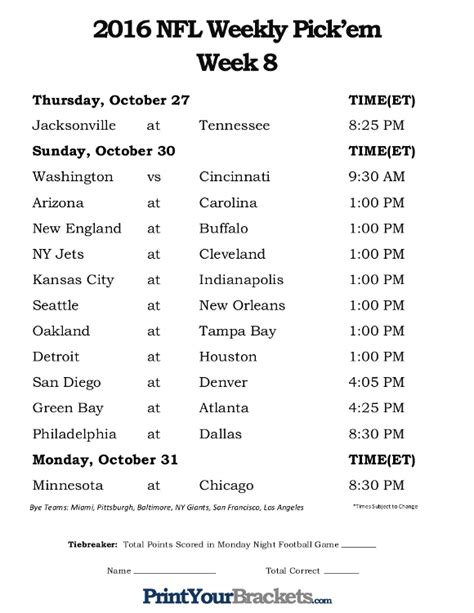 printable nfl schedule week 8 printable nfl week 8 schedule pick em office pool 2016