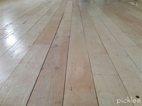 wide plank plywood floor white wash