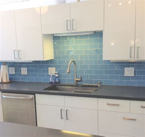 glass subway tile backsplash kitchen sky blue modern kitchen backsplash subway tile outlet
