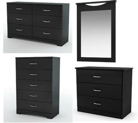 pc modern black dresserchestnightstand mirror bedroom set ebay