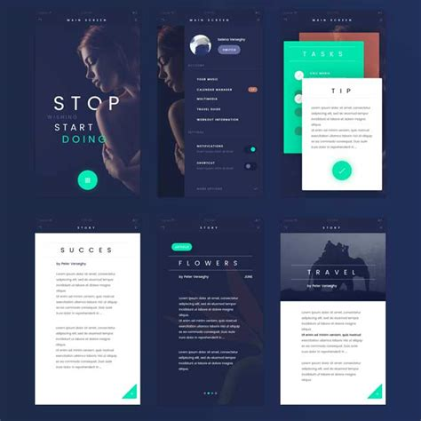app design ui kit fade free flat app ui kit psd free download