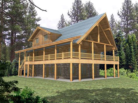 wrap around deck plans raised log home plan 088d 0043 house plans