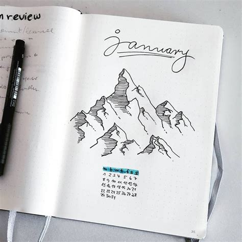 libro julys people bullet journal monthly cover page january cover page mountain drawing outdoor drawing