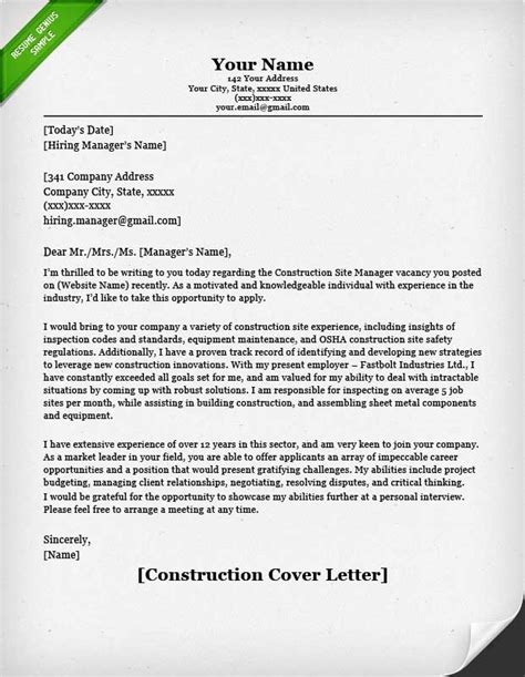 Construction Work Cover Letter Construction Cover Letter Sles Resume Genius
