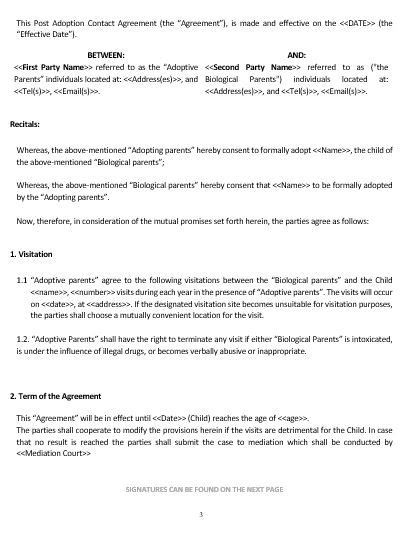 Ne0235 Post Adoption Contact Agreement Template English Namozaj Child Adoption Agreement Template