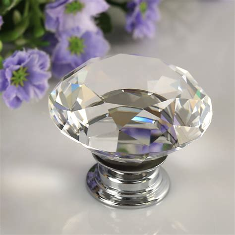 8x 40mm glass door knobs drawer kitchen cabinet