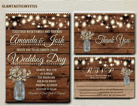 rustic wedding invitation printable country by glamtasticinvites