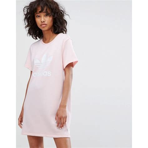 light pink t shirt dress adidas trefoil dress in pale pink nudevotion com