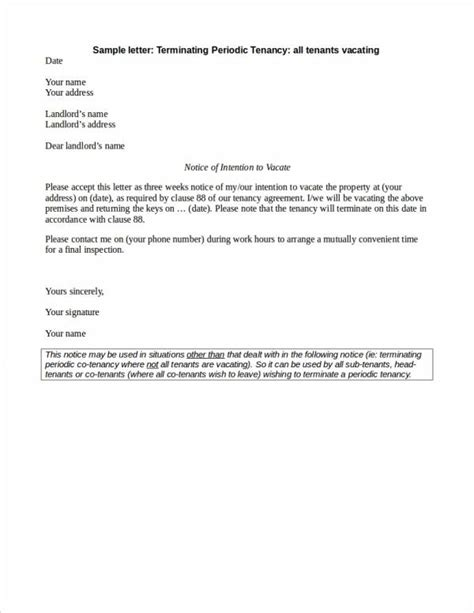 lease termination letter samples templates  word