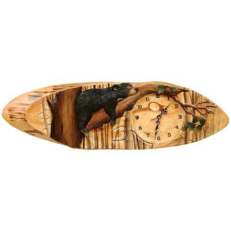 Wooden Vanity Table Carved Wood Bear Clock