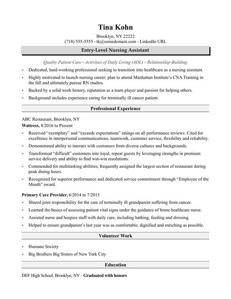 nursing assistant resume sle