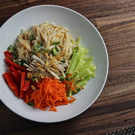 rice noodle salad rice noodle salad with peanut dressing crunchygooey