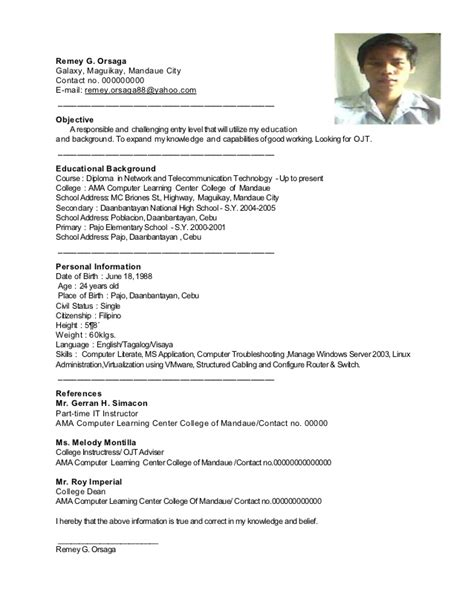 Resume Sle Format For Ojt Sle Resume For Ojt Sle Resume