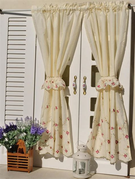 floral country curtains french country floral embroidered cafe kitchen curtain 006