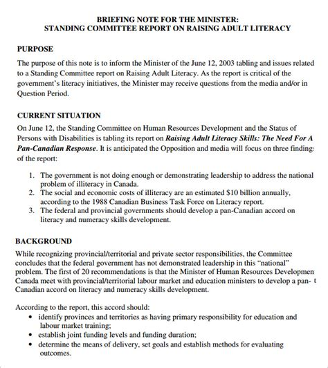 ministerial briefing template how to write a briefing paper for policy