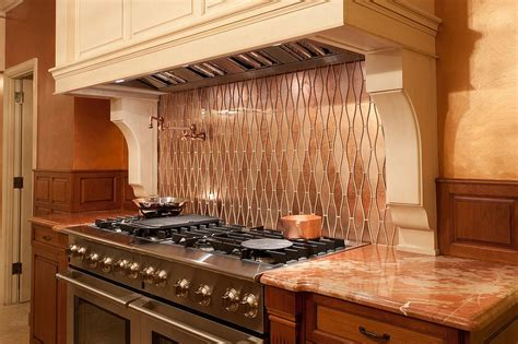 kitchen aluminum backsplash copper backsplashes for 20 copper backsplash ideas that add glitter and glam to