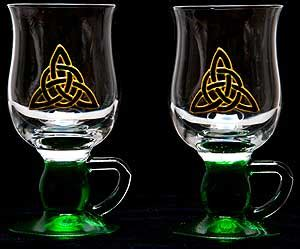 irish barware pair of irish coffee glasses in celtic eternity knot
