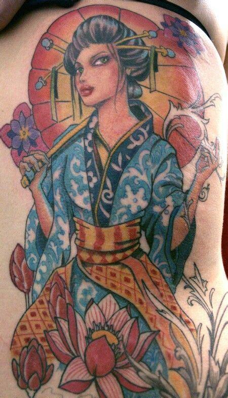geisha tattoo new school new school geisha permanent art pinterest geishas