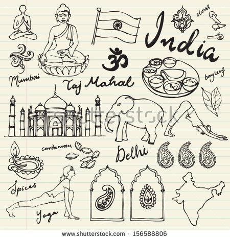 doodle in india set of india icons doodle vectors 156588806