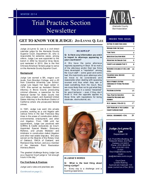 practice section trial practice section newsletter winter 2014