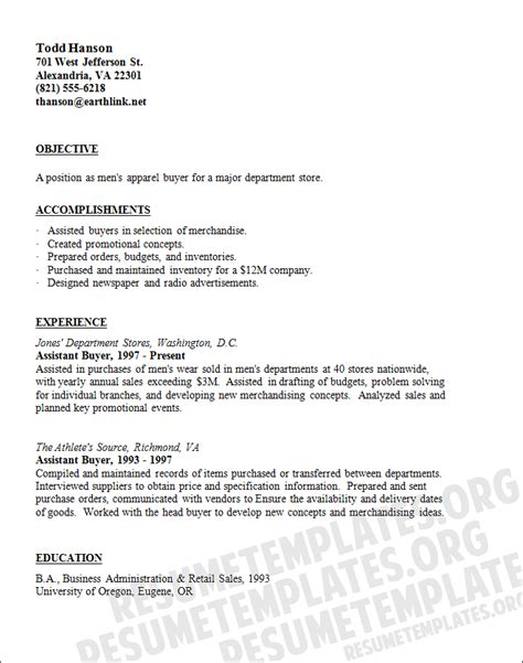 buyer resume template cv sles for buyer position