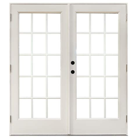 Masterpiece Patio Door Reviews Masterpiece 58 75 In X 79 1 4 In Fiberglass White Right Outswing Hinged Patio Door With