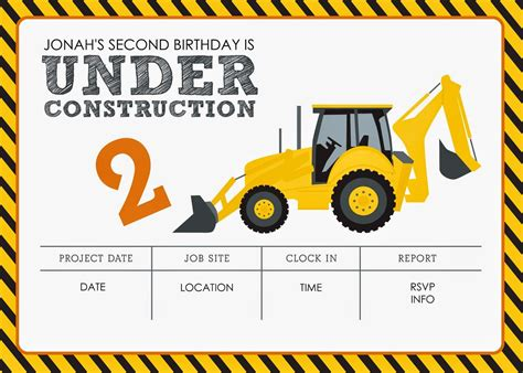 Construction Themed Birthday Party Free Printables Jacqueline Dziadosz Invitations Design Construction Themed Birthday Invitation Templates